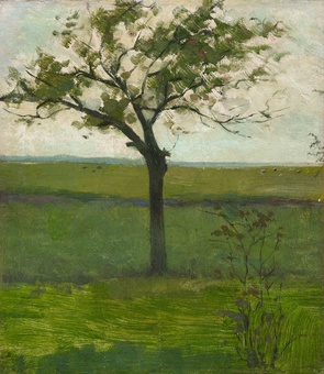 Piet Mondrian, 'Polder Landscape with Silhouetted Young Tree', 1900–01 (detail). Private collection, London.